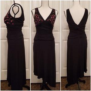 B Darlin sz5/6 black floral asymmetrical dress